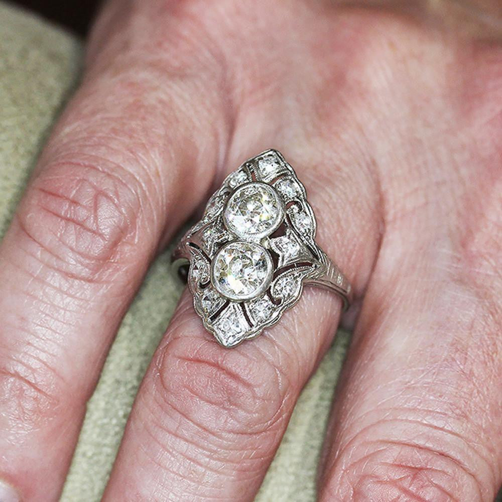 Vintage Art Deco Double Diamond Filigree Ring with Accents in ...