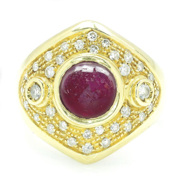 Once Upon A Diamond Ring Vintage Cabochon Ruby Ring with Diamonds 18K Gold 2.84ctw