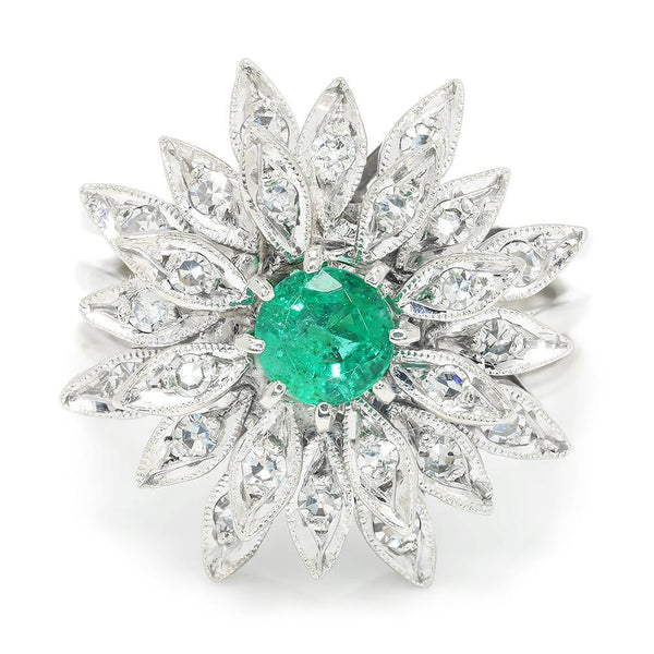 Once Upon A Diamond Ring Vintage Emerald Flower Ring with Diamonds White Gold