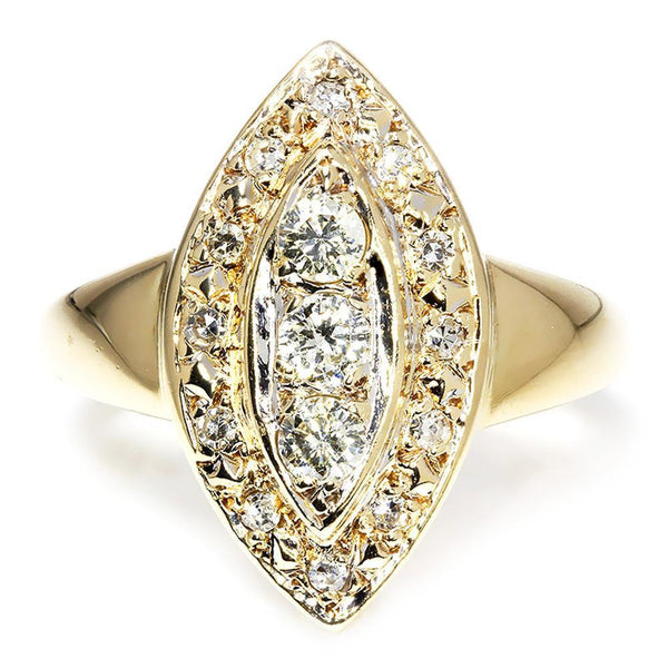 Once Upon A Diamond Ring Vintage Marquise Shaped Diamond Ring with Single Cuts in 14kt Yellow Gold