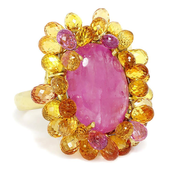 Once Upon A Diamond Ring Vintage Ruby Ring with Briolette Sapphire's in 18kt Yellow Gold 27.00ctw