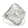 Once Upon A Diamond Ring White Gold Art Deco Old Mine Cut Diamond Ring with Sapphires 18K .80ctw