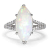 Once Upon A Diamond Ring White Gold Marquise Split Shank Opal Ring with Diamonds 18K 3.83ctw