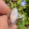 Once Upon A Diamond Ring Yellow Gold Marquise Split Shank Opal Ring with Diamonds 18K 3.83ctw