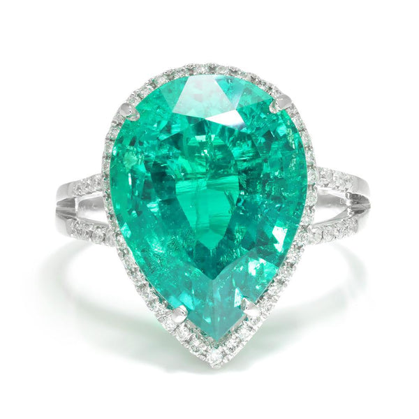 Once Upon A Diamond Ring White Gold Pear Emerald Halo Ring with Diamonds 18K White Gold 7.92ctw