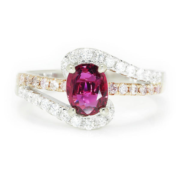 Once Upon A Diamond Ring White & Rose Gold Oval Ruby Swirl Ring with Pink Diamonds 18K 1.58ctw