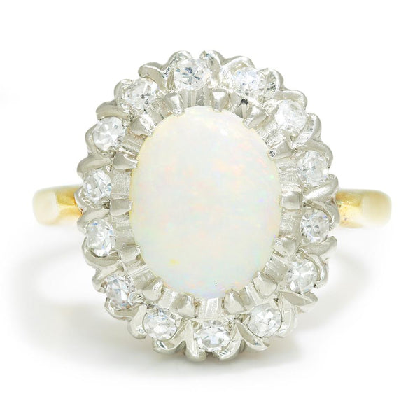 Once Upon A Diamond Ring White & Yellow Gold Vintage Opal Halo Ring with Diamonds 14K Two Tone Gold