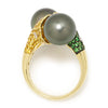 Once Upon A Diamond Ring Yellow & Black Gold Black Tahitian Pearl Bypass Ring with Gemstones 14K Gold 11.40mm