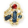 Once Upon A Diamond Ring Yellow Gold Carved Topaz & Tourmaline Ring 14K Yellow Gold 3.60ctw