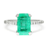 Once Upon A Diamond Ring Yellow Gold Emerald Solitaire Ring with Diamond Accents 18K 2.22ctw