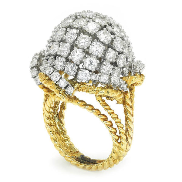 Once Upon A Diamond Ring Yellow Gold & Platinum Vintage Diamond Cluster Dome Ring 18K Platinum 7.00ctw