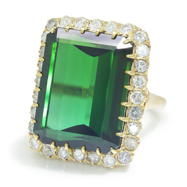 Once Upon A Diamond Ring Yellow Gold Vintage Certified Green Tourmaline & Diamond Ring 23.35ct