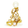 Once Upon A Diamond Ring Yellow Gold Vintage Pearl Ring with Old Mine Cut Diamonds 18K 1.00ctw