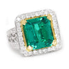 Once Upon A Diamond Ring Yellow & White Gold Large Emerald Halo Ring with Accents 18K Two-Tone Gold 6.04ctw