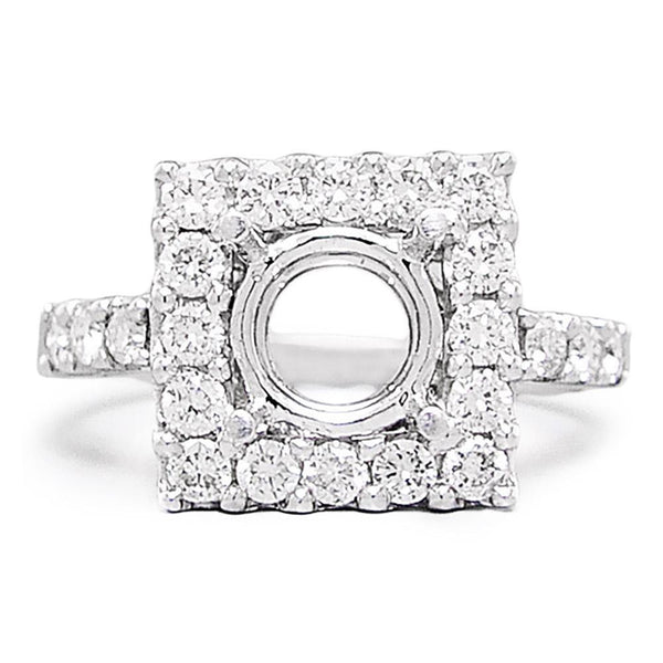 Once Upon A Diamond Semi Mount Round Diamond Square Semi Mount Engagement Ring Setting