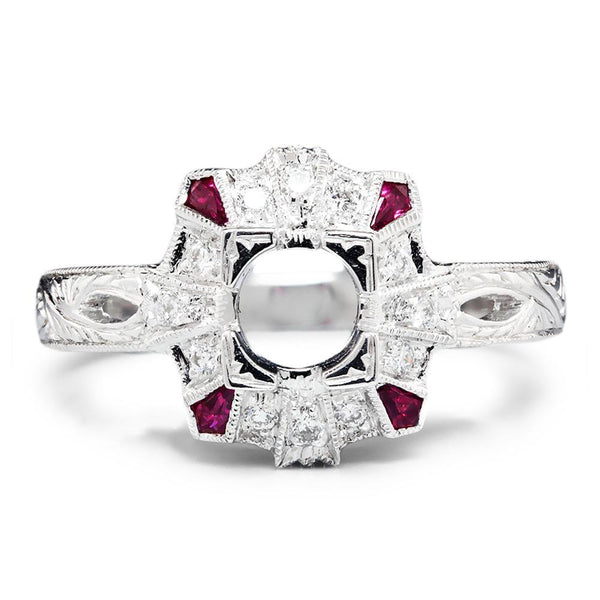 Once Upon A Diamond Semi Mount Ruby Semi Mount Ring Setting with Diamonds 18K