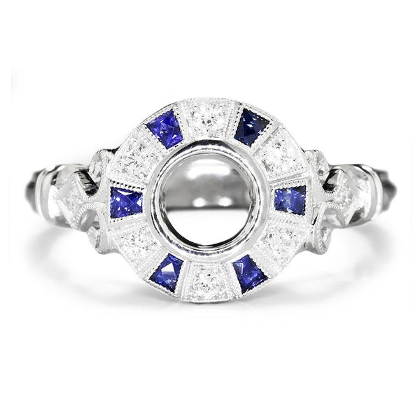 Once Upon A Diamond Semi Mount Sapphire Semi Mount Engagement Ring Setting with Diamonds