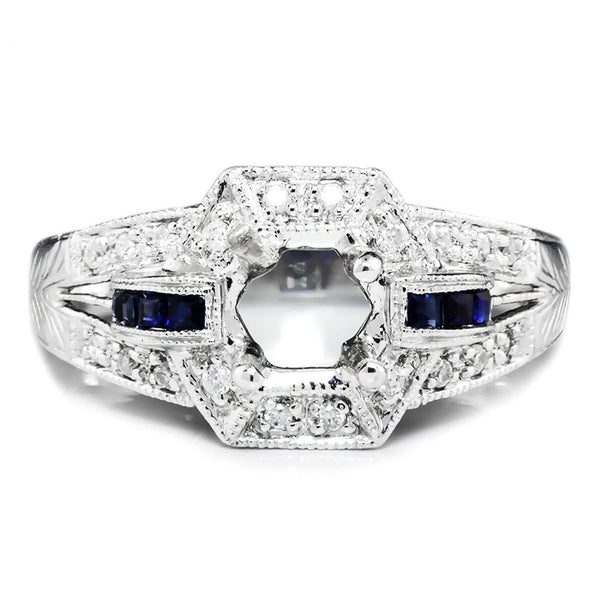 Once Upon A Diamond Semi Mount Vintage Reproduction Sapphire Semi Mount Engagement Ring