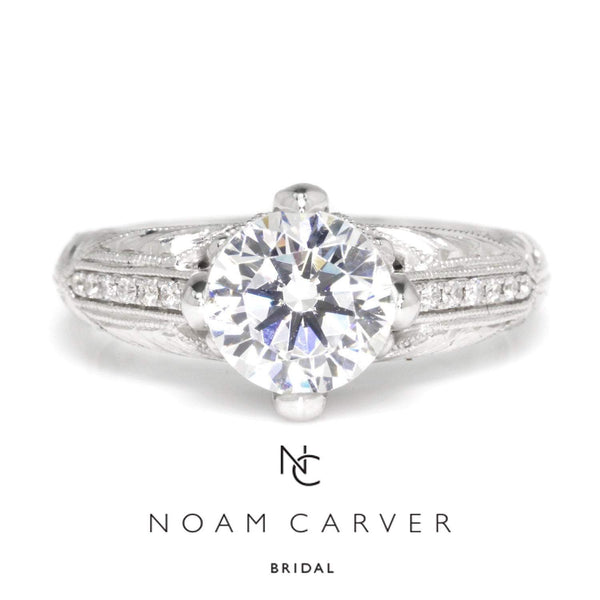 Once Upon A Diamond Semi Mount White Gold Noam Carver Engraved Engagement Ring Semi-Mount White Gold
