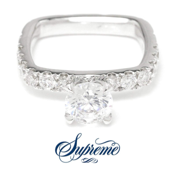Once Upon A Diamond Semi Mount White Gold Supreme Carré Round Diamond Engagement Ring Semi-Mount 18K