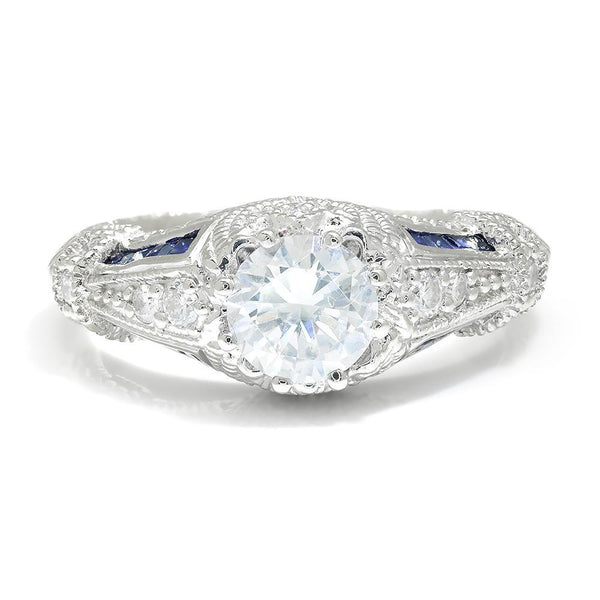 Once Upon A Diamond Semi Mount White Gold Vintage Reproduction Engagement Ring Setting with CZ