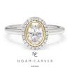 Once Upon A Diamond Semi Mount White & Yellow Gold Noam Carver Oval Halo Engagement Ring Semi-Mount Two-Tone