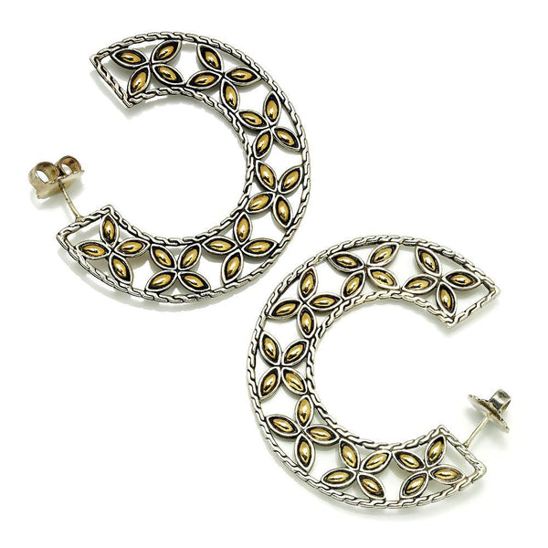 Once Upon A Diamond Semi Mount Yellow Gold John Hardy Batu Kawung Hoop Earrings 18K Sterling Silver
