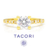 Once Upon A Diamond Semi Mount Yellow Gold Tacori Sculpted Crescent Round Engagement Ring Semi-Mount 18K