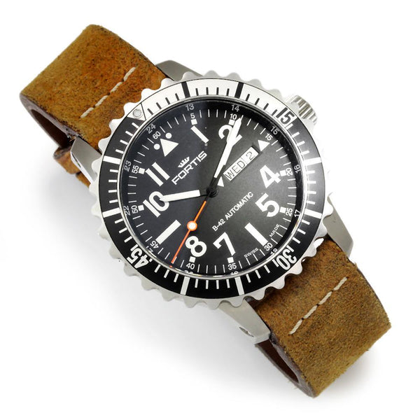 Once Upon A Diamond Watch Stainless Steel & Brown Leather Fortis B-52 Automatic Marinemaster Watch 670.17.158 46mm