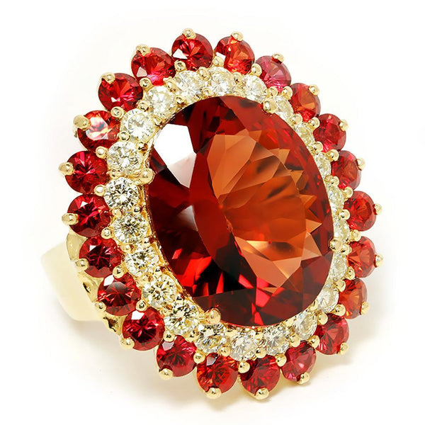 Once Upon A Diamond Watch Vintage Garnet Cocktail Ring with Diamond's & Garnet's in 14kt Yellow Gold 25.50ctw