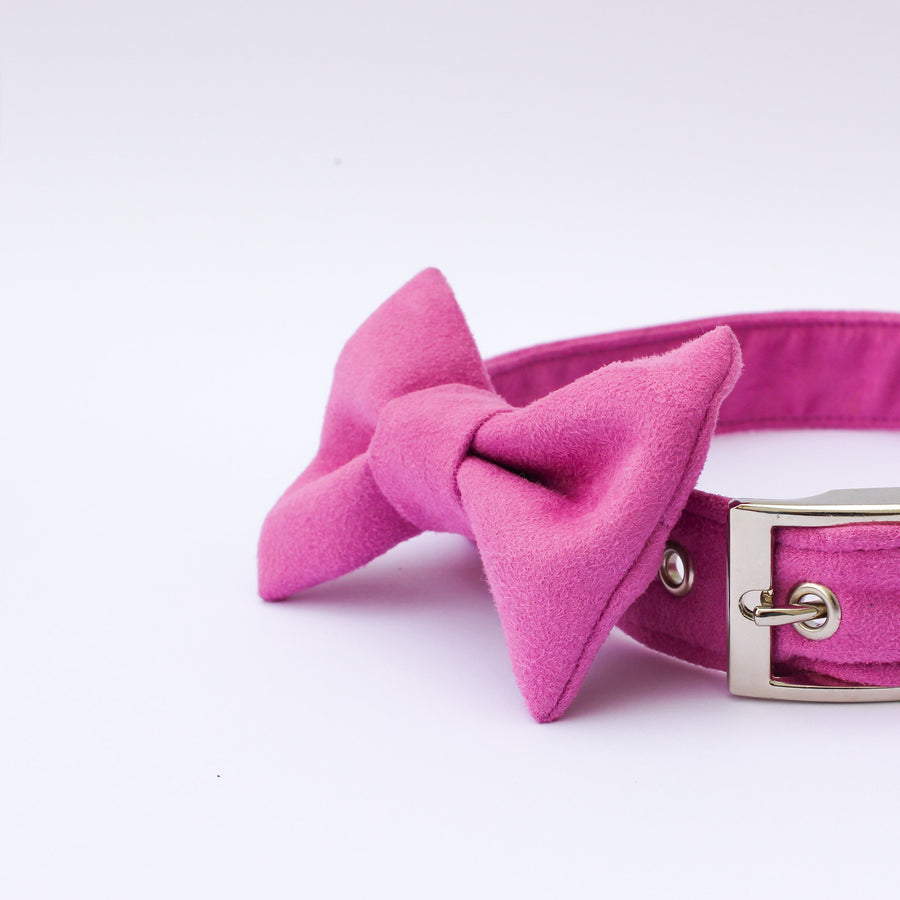 Fuchsia Suede Bow Tie