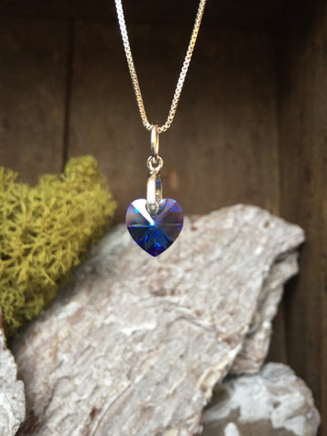Swarovski Crystal Heart Necklaces - Birthstone Colours