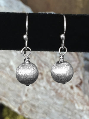 Sterling Silver Etched Ball Earrings