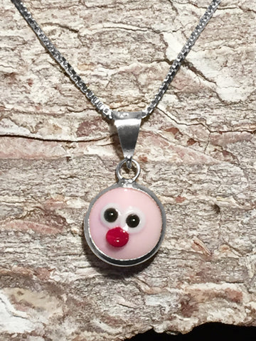 Sterling Pink Evil Chick Necklace