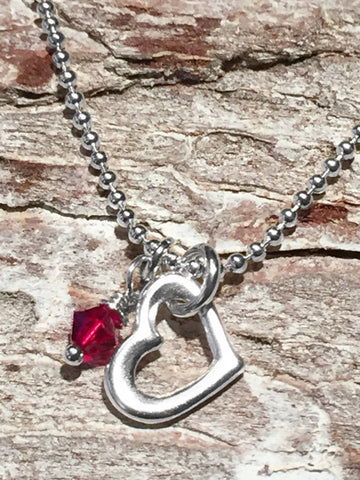 Sterling Drop Heart Necklace