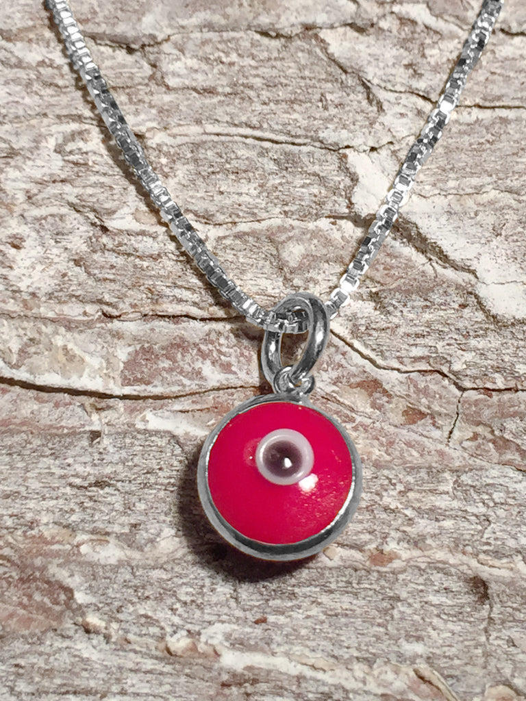 Sterling Red Evil Eye Necklace