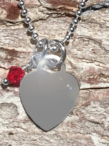 Sterling Heart Necklace with Swarovski Red Crystal