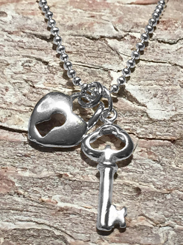 Sterling Heart & Key Necklace