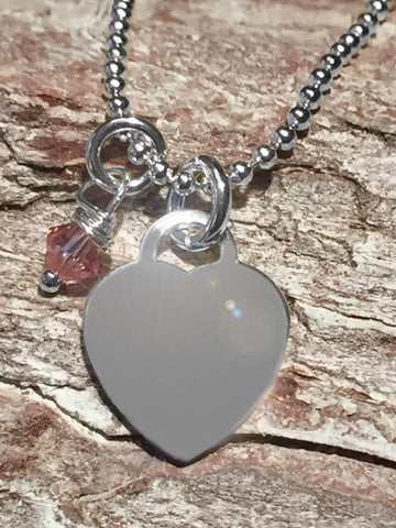 Sterling Heart Necklace with Swarovski Pink Crystal