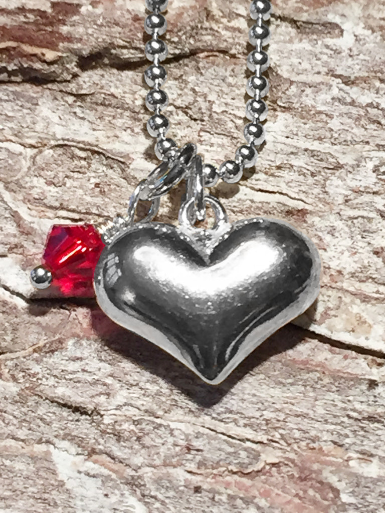 Sterling Puffy Heart Necklace
