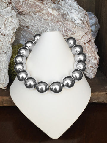 Sterling Silver Ball Bracelet 12 mm