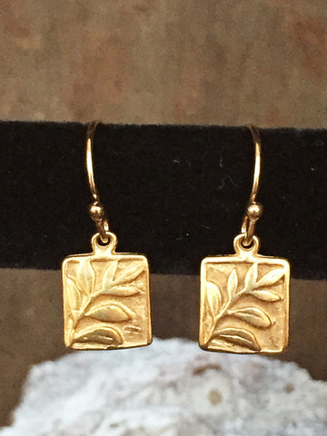 Vermeil Square Leaf Earrings