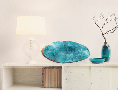"Resin Decorative Wooden ""Shades of Turquoise"" Platter"