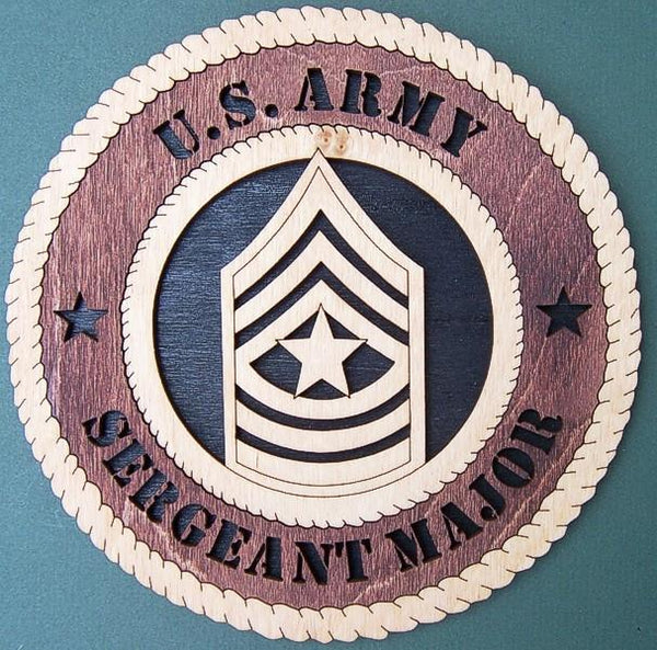 "Laser Pics and Gifts: 12"" ARMY SERGEANT MAJOR Plaque - Laser Pics & Gifts"