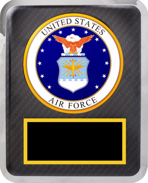 "10 1/2"" x 13"" Air Force Hero Black w Gold Text Plaque"