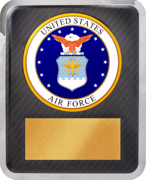 "10 1/2"" x 13"" Air Force Hero Gold w Black Text Plaque"
