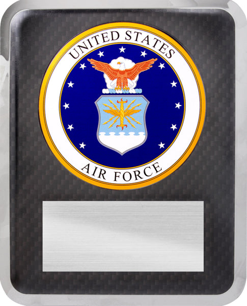 "10 1/2"" x 13"" Air Force Hero Silver w Black Text Plaque"