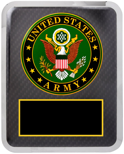 "10 1/2"" x 13"" Army Hero Plaque Black w Gold Text"