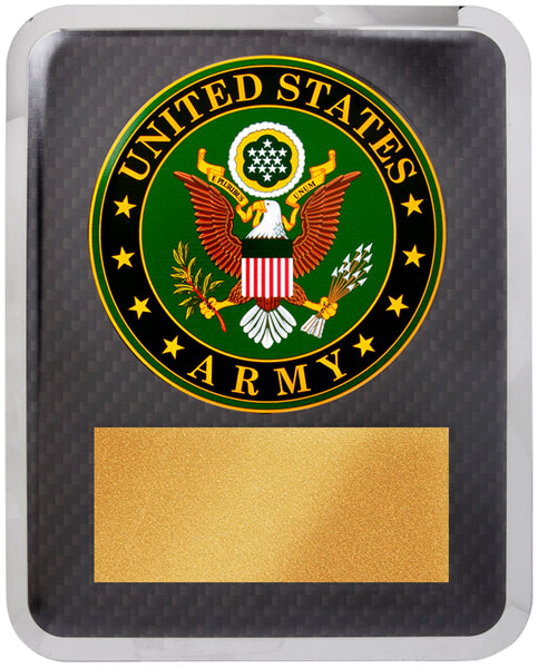 "10 1/2"" x 13"" Army Hero Plaque Gold w Black Text"
