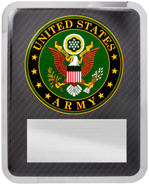 "10 1/2"" x 13"" Army Hero Plaque Silver w Black Text"